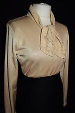LADIES BLOUSE VINTAGE TOP GLOSSY LACY SECRETARY MISTRESS GOVERNESS TIE NECK 8 10