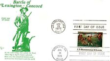 US FDC #1563 Lexington/Concord Dual On Single Stamp, 1st Cachet Falkon (6173)