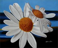 Quality Hand Painted Oil Painting Two Giant Daisies, Beautiful!  20x24in