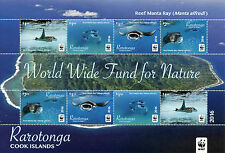 Rarotonga Cook Islands 2016 MNH Reef Manta Ray WWF 8v M/S Fish Manta Rays Stamps