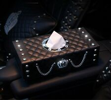 Creative Car Interior Decor Cute Leather Rhinestone Crown Tissue Box Accessory