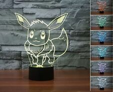 3D Pokemon GO Pocket Monster Eevee LED Night Light 7 Color Desk Table Lamp Gifts