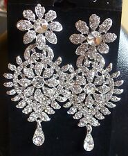 Silver Plated Gorgeous Stone CZ Indian Dangler Earrings Wedding Jewelry Set..