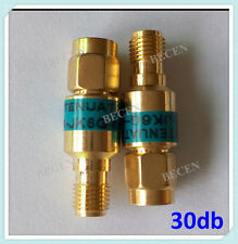 Gold 2W rf Attenuator SMA male to female 6GHz 50ohm 30dB