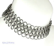WIDE Steel Chain Mail Choker 8MM by SINPATIKO * Goth Punk Emo