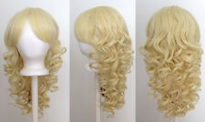 20'' Long Layered Super Curly Long Bangs Flaxen Blonde Synthetic Cosplay Wig NEW
