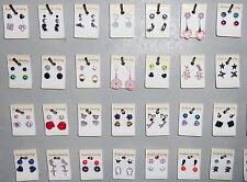 Wholesale Lot Earrings 60 Pair Stud Dangle Pierced New Multi Color Silver Z2
