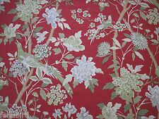 GP & J BAKER CURTAIN FABRIC DESIGN Hydrangea Bird 8 METRES  TOMATO AND OLIVE