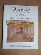 CATALOGUE VENTE ENCHERES 1988 GERSAINT STRASBOURG TABLEAUX XIXe et MODERNES
