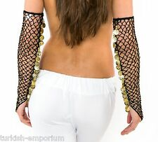 Belly Dance Tribal Net Gloves Gauntlets Coins Gothic Grunge Vamp (PAIR) UK NEW