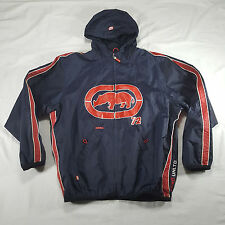 ECKO UNLTD Full Zip Hooded Windbreaker Jacket XL Navy Red Classic Track Suit VTG