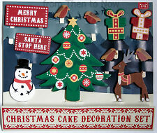 Christmas Cake 11pc Wooden Decoration Set Tree Reindeer Robins Vintage Toppers