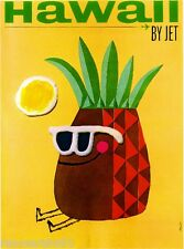 Hawaii Pineapple Hawaiian Vintage United States Travel Advertisement Art Poster