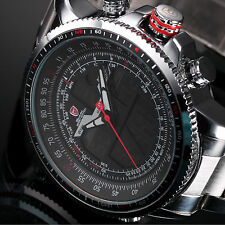 SHARK Luxury LCD Digital Black Red Stainless Steel Quartz Mens Wrist Sport Watch