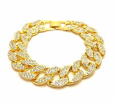 MENS YELLOW GOLD FINISH LAB DIAMOND  15mm THICK MIAMI CUBAN LINK BRACELET CHAIN