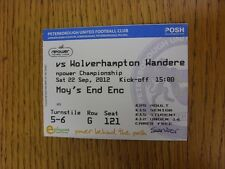 22/09/2012 Ticket: Peterborough United v Wolverhampton Wanderers  . Thanks for v