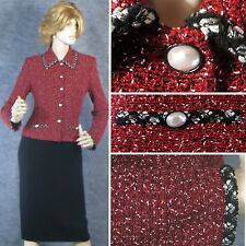 STUNNING! ST JOHN COLLECTION KNIT RED W/ BLACK/WHITE JACKET SZ 8 EXCELLENT!