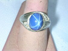VINTAGE 14K WHITE GOLD MEN'S RING WITH STAR SAPPHIRE