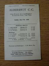17/07/1955 Aldershot Cycling Club: Results Programme, Open 50 Miles Scratch Hand