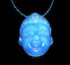 36X26MM  OPALITE GEMSTONE WHITE CARVED BUDDHA HEAD LOOSE BEADS 2 BEADS