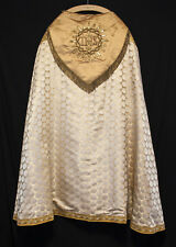Vintage GOLD SILK COPE Raised Gold IHS Catholic Priest Vestments Church Clergy