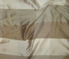 """100% Silk Dupioni Fabric - Taupe & Brown Check 18""""x27"""" remnant"""