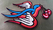 """Swallow"" Embroidered Patch Iron On 1950s ROCKABILLY Pin Up Punk Cherry TATTOO"