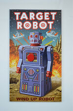 Small vintage Target Robot tin advertising sign 1950's toy robot plaque tinplate