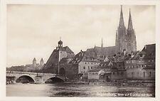 H 520 - Regensburg Blick auf Brücktor m. Dom Brücke, ungelaufen