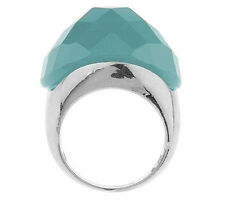 VT Luxe Bold Faceted Turquoise-Colored Stone Dome Ring Size 9 QVC Silvertone
