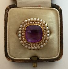 A Wonderful 4ct Amethyst & Seed Pearl Cluster Ring Circa 1800's