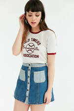 NWT  Urban Outfitters Truly Madly Deeply Old Timers Ringer Tee /   Ivory / XS