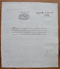 FORRESTIER-D'OSSEVILLE,FORESTIER DE VENDEUVRE,1808,FAIRE-PART ORIGINAL MARIAGE