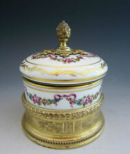 FRENCH Andre Marie Leboeuf STERLING 935 GOLD VERMEIL MOUNTED Porcelain BOX