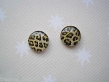 *DOMED GLASS LEOPARD PRINT* Stud 12mm Silver Plated Post Earrings Safari Animal