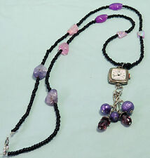 NWOT Geneva Pendant Watch on Long Strand of Pink, Purple, and Black Necklace