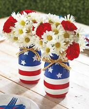 Setof 2 Painted Glass Mason Jars Patriotic American Flower Vase Silverware Caddy