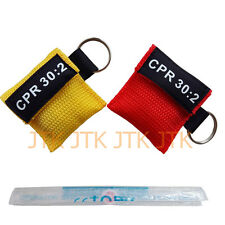 2PCS CPR MASK WITH KEYCHAIN CPR FACE SHIELD AED YELLOW & RED POUCH CPR 30:2 AED