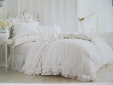 New Rachel Ashwell SIMPLY SHABBY CHIC 3pc White Ruffle Lace Duvet Set - King