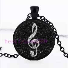 Black Diamond musical note Cabochon Glass Black Chain Pendant Necklace#1I0