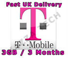 TMOBILE PAYG 3 MONTHS INTERNET SIM CARD WITH 3GB FREE DATA PRE-LOADED T-Mobile