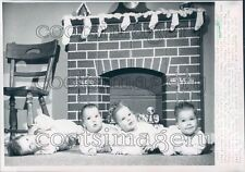 1963 Cute Axe Quadruplets Lima Ohio in Front of Christmas Fireplace Press Photo