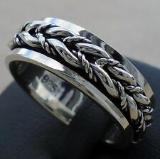 925 Sterling Silver Rope Braid Spin Ring Size 12 Spinner Unis Solid Hallmark New