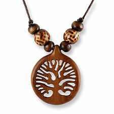 Halskette Design Anhänger Holz Amulett 3cm Baum des Lebens N290