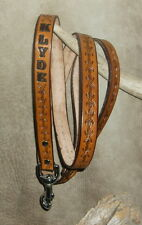 Custom Made Saddle Tan Leather Dog Leash, Barbed Wire Tooling, Ur Dogs Name. G&E