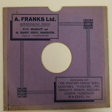 "78rpm 10"" card gramophone record sleeve A FRANKS LTD , MANCHESTER"