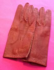 Vintage Oxblood/Brown Leather Driving/Cycling/Winter Womens Gloves Size 7.5/M/L