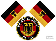 LOT of 3 PROUD GERMAN BIKER IRON-ON PATCH GERMANY FLAG Aufnäher EMBROIDERED