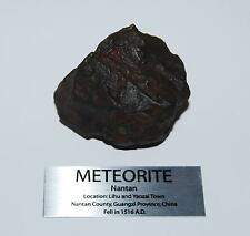 NANTAN IRON NICKEL METEORITE -Genuine- 370 gram (13 oz) + Display Label #2578