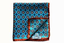 Battisti Pocket Square Turquoise with brown/navy geometric pattern, pure silk